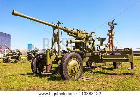 Automatic Anti-aircraft Gun Model 1939 In Togliatti Technical Museum In Sunny Day
