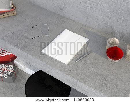 Mock Up Of Magazine On The Concrete Table With Decorations For Christmas