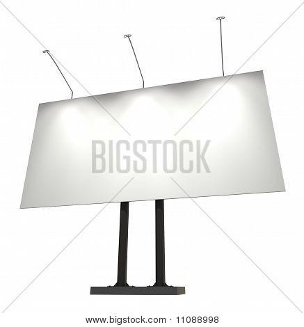 Blank Billboard, Isolated On White With Clipping Path