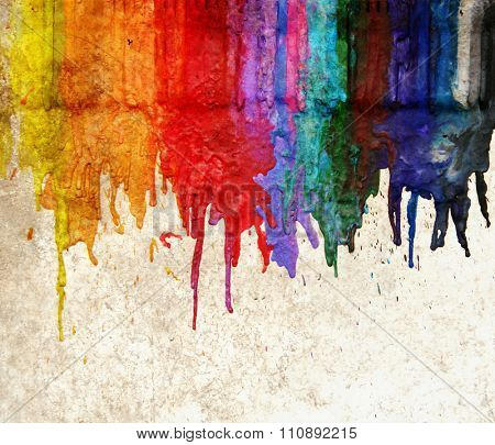 image from color and texture background series (melted coloring crayons) good for back to school theme or teaching elementary school children primary colors poster