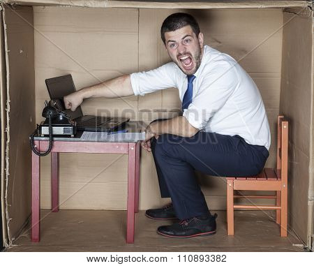 Businessman Hid The Computer
