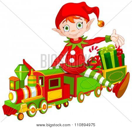 Illustration of cute Christmas elf sits on toy train