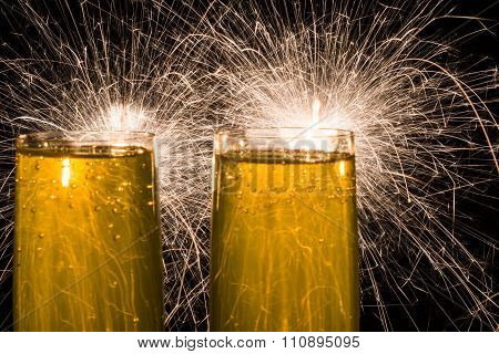 Champagne with sparklers