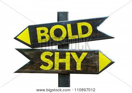 Bold - Shy signpost isolated on white background