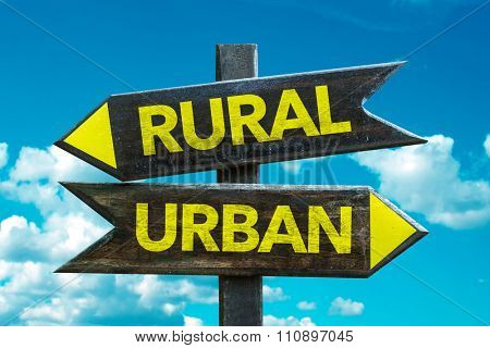 Rural - Urban signpost with sky background