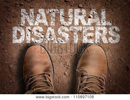 Top View of Boot on the trail with the text: Natural Disasters