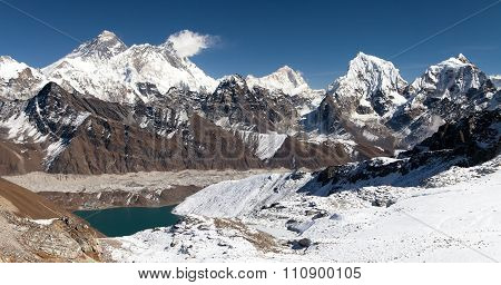 Panoramic View Of Everest, Lhotse, Makalu And Gokyo Lake