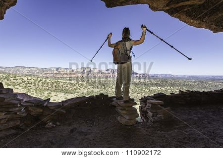 Woman Celebrating End of Hike
