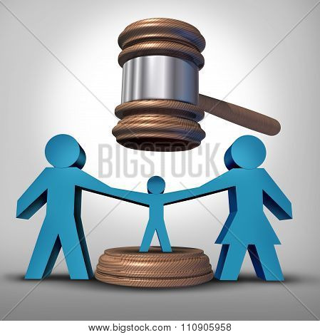 Child custody battle as a family law concept during a legal separation or divorce dispute as a father mother icon holding a child with a judge gavel or mallet coming down as a justice symbol for parenting rights. poster