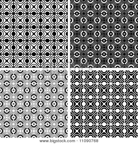 Seamless checked crisscross patterns set.