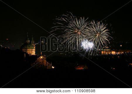 Fireworks in Prague next to Saint Nicolas Church