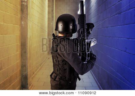 Airport Security, Armed Police Wearing Bulletproof Vests