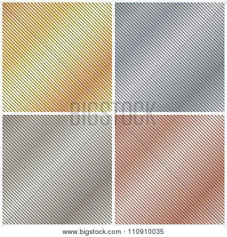 Vector Background With A Metallic Gold, Platinum, Silver And Bronze Strips