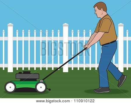 Homeowner is pushing a lawn mower in his back yard poster