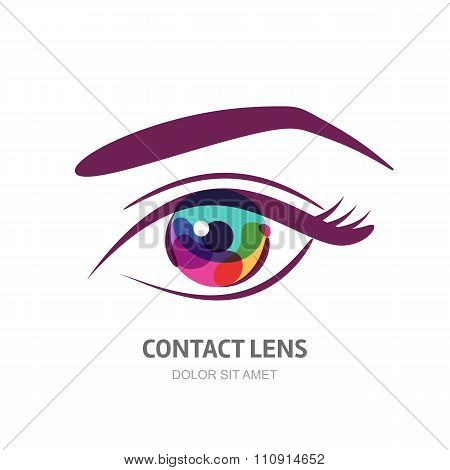 Vector Eye Illustration With Colorful Pupil.