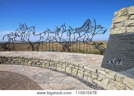Indian Memorial At Little Bighorn Battlefield National Monument, Montana, Usa