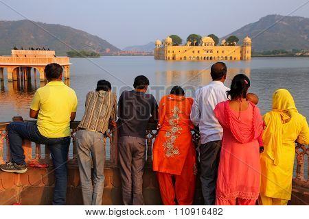 Delhi, India - November 13: Unidentified People Stand By Jal Mahal And Man Sagar Lake On November 13