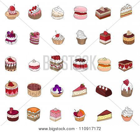 Set with different kinds of dessert: cake, muffin, macaroon, pie. For your design, announcements, postcards, posters, restaurant menu.