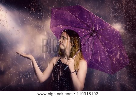 Beautiful Storm Woman Catching Falling Rain Drops