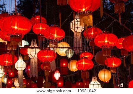Northern Thai Style Lanterns At Loi Krathong Festival
