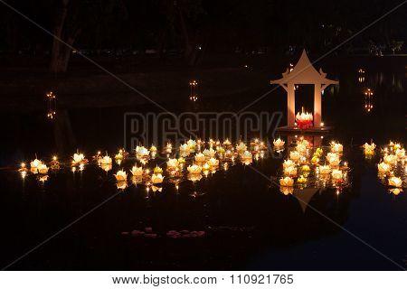 Loy Kratong Festival at Sukhothai Historical Park Thailand poster