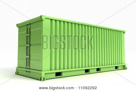 Green Cargo Container On A White Background