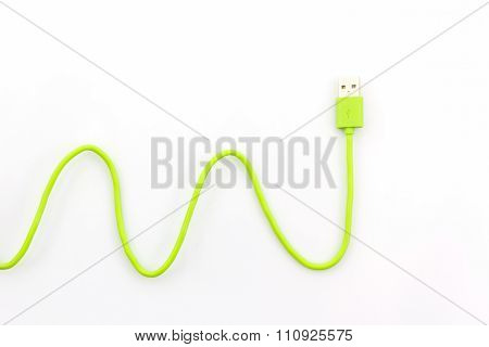Green Usb Cable For Smartphone.