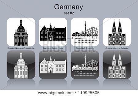 Landmarks of Germany. Set of monochrome icons. Editable vector illustration.