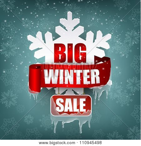 Winter sale background with red realistic ribbon banner and tree silhouette white