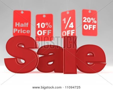 A Set Of Price Tags + 3D Sale Text