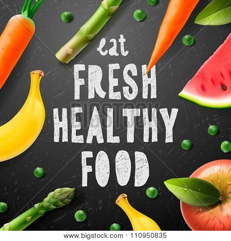 Healthy food concept with sample text