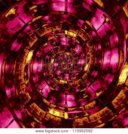 Psychedelic golden and purple spiral. Obscure sci fi twirling. Unreal cyber twist.