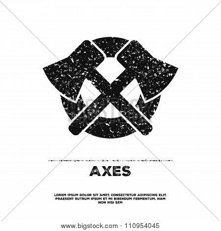 Two crossed vintage axes on dark background.