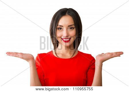 Surprised Woman Showing Open Hands Palm With Copy Space For Product Or Text. Gorgeous Multiethnic Ch
