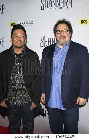 LOS ANGELES - DEC 4:  Roy Choi, Jon Favreau at the he Shannara Chronicles at the iPic Theaters on December 4, 2015 in Los Angeles, CA
