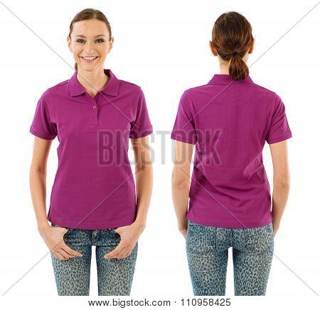 Happy Woman With Blank Purple Polo Shirt