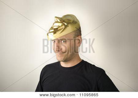 Man revealing his face