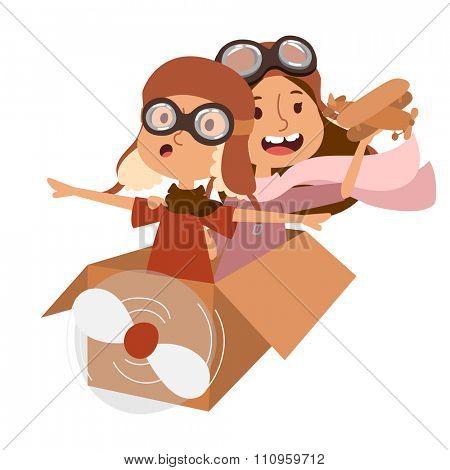 Small cartoon vector kids playing pilot aviation. Kids dreaming concept. Childhood vector kids playing games. Cartoon boys, girls play like pilots. Plane, kids, children, play, jump, Kids dreams icons