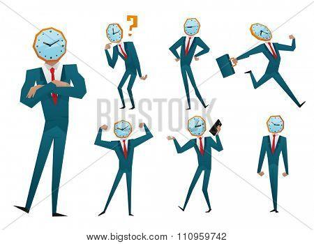 Businessman watch head vector illustration. Time business concept. Businessman clock time run. Businessman delay. Business man time concept situation. Business man watching clock time