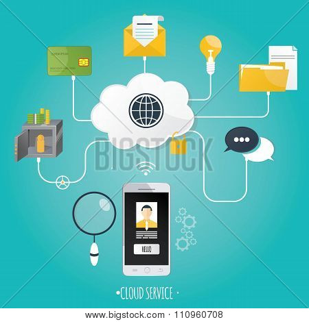 Modern vector illustration of cloud service on blue background