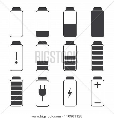 Modern Vector Illustration Of A Battery Charging Symbols.