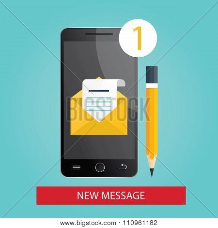Modern Vector Illustration Of  Mobile Phone With New Message.