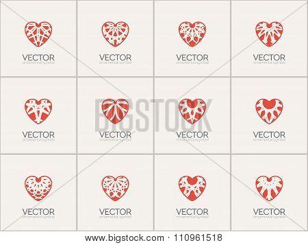Vector Ornamental Hearts Logos