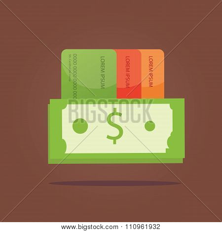 Modern Vector Illustration Of Payment, Cash With Credit Card