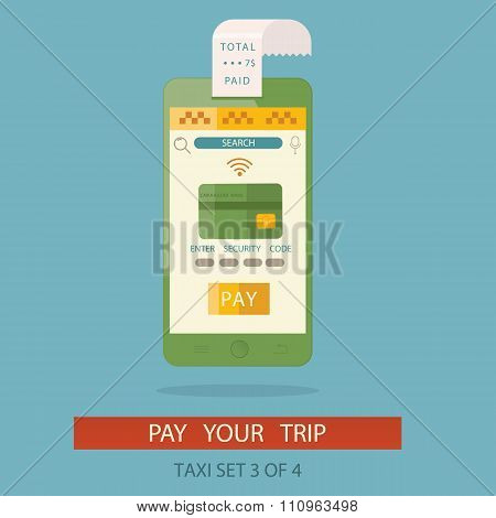 Modern Vector Illustration Of Concept Process Paying Taxi Cab Via Mobile Application By Credit Card.