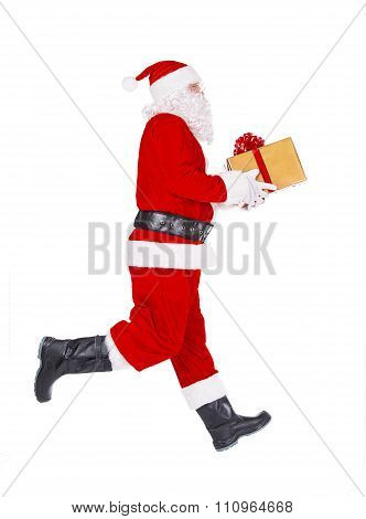 Santa Claus Running To Present Christmas Gift Isolated On White Background