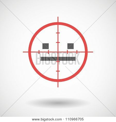 Red Crosshair Icon Targeting A Emotionless Text Face