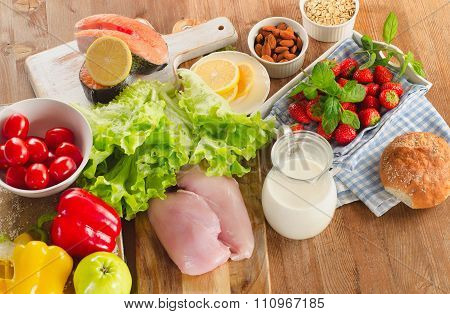 Balanced Diet, Healthy Food Concept  On Wooden Table.