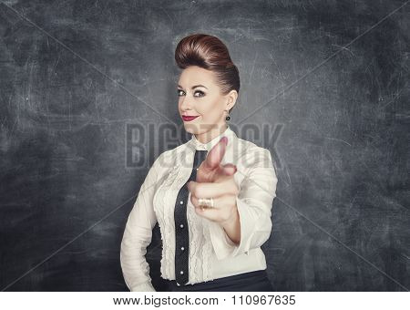 Beautiful Business Woman Showing Gun Sign