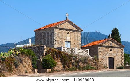 Old family crypts catholic cemetery in Propriano Corsica island France poster